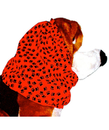 Dog Snood Red Black Mini Paw Prints Cotton Basset Hound Springer Spaniel... - $14.00