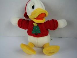 Disney Store Donald Duck Nephew Louie Christmas Plush Tree Red Sweater 1... - $24.74
