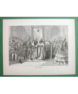 RUSSIA Religious Marriage Army Offier - 1858 Antique Print - $9.18