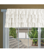 Chiffon CREAM Ruffle Layered Window Valance any size  - $29.99+