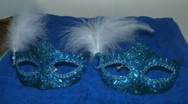 New Holiday Time Clip Ornaments Lot of 2 Teal Masquerade Masks Rhineston... - $14.84