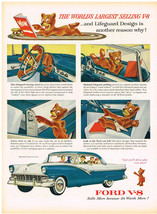 Vintage 1956 Magazine Ad Ford V-8 You Will Drive Safer With Lifeguard Design - $5.93
