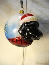 Vaillancourt Folk Art Jingle Ball Black Lab Santa Ornament image 1