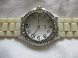 White & Silver Toned Wristwatch w/ Adjustable Buckle Band - $29.00