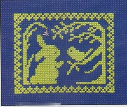 Spring Silhouette Bunny Hears Song of Spring cross stitch chart Handblessings - $5.00