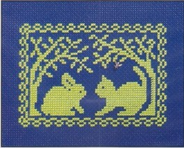 Spring Silhouette Bunny Meets Kitty cross stitch chart w/charm Handblessings - $5.00