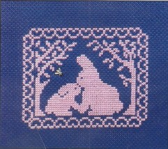 Spring Silhouette Bunny Baby & Momma cross stitch chart w/charm Handblessings - $5.00