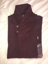Nwt Polo Ralph Lauren Men's Estate Rib Shawl Neck Sweater Wine L - $64.99