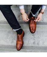 Handmade Men brown Oxford Formal shoes Men brogue dress shoes Leather sh... - $169.99