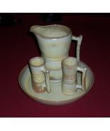 Frankoma Plainsman Desert Gold Pitcher, 2 Latte/Demitasse Cups, and Tray  - $49.00