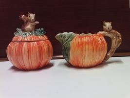 FITZ & FLOYD OMNIBUS 1991 BROWN SQUIRREL SUGAR BOWL & CREAMER - $34.99