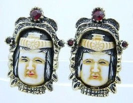 VTG Gold Tone Red Rhinestone Glass Seven Gods of Fortune Clip Earrings - $74.25