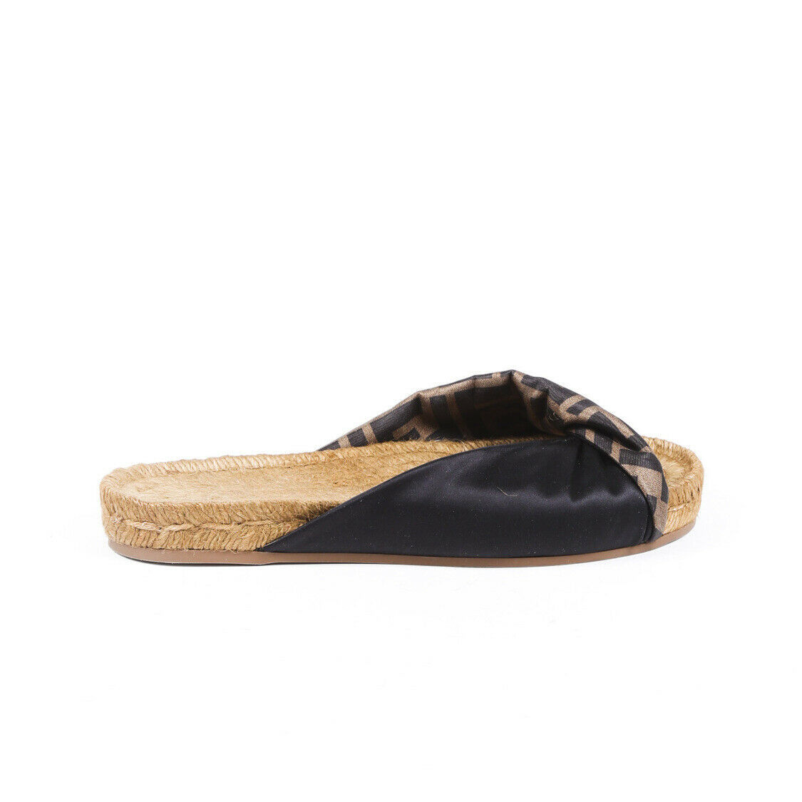 Fendi Zucca Satin Espadrille Slide Sandals SZ 37 - $310.00