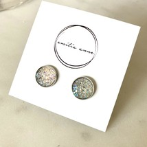 Druzy Quartz Post Earrings Sparkle Scott Dark Clear White Crystal Stone ... - $21.34