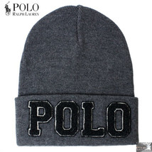 "NWT POLO RALPH LAUREN ""POLO"" SPELL OUT POLO CHARCOAL GRAY  BEANIE CAP SK... - $34.50"