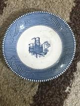 Blue Vintage boat Ship Scene Set Of 4 Fruit Dessert Plates  C73 - €25,10 EUR