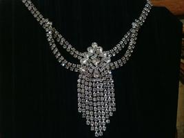 Vintage Glam Pinup Bride Crystal Drop Pendant Choker Necklace - $25.00