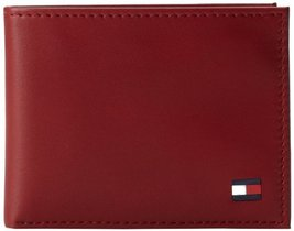 Tommy Hilfiger Men's Dore Passcase Billfold Wallet,Red,One Size