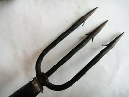 "antique 54""FARM TOOL, WROUGHT IRON 3 PRONG EEL SPEAR WOOD HANDLE,HAY FIS... - $87.95"