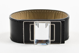 Swarovski NIB Black Patent Leather Enamel Emerald Cut Crystal Turnlock Cuff - $135.00