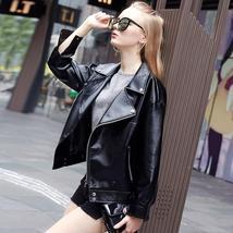Autumn Motorcycle Jacket For Women's Black Turn down Collar