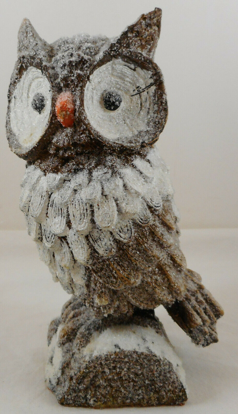 "Primary image for Brown Owl On Stump Statue Figurine 8"" Glittery Glitter Resin"