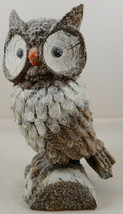 "Brown Owl On Stump Statue Figurine 8"" Glittery Glitter Resin - $20.78"