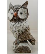 "Brown Owl On Stump Statue Figurine 8"" Glittery Glitter Resin - $20.78"