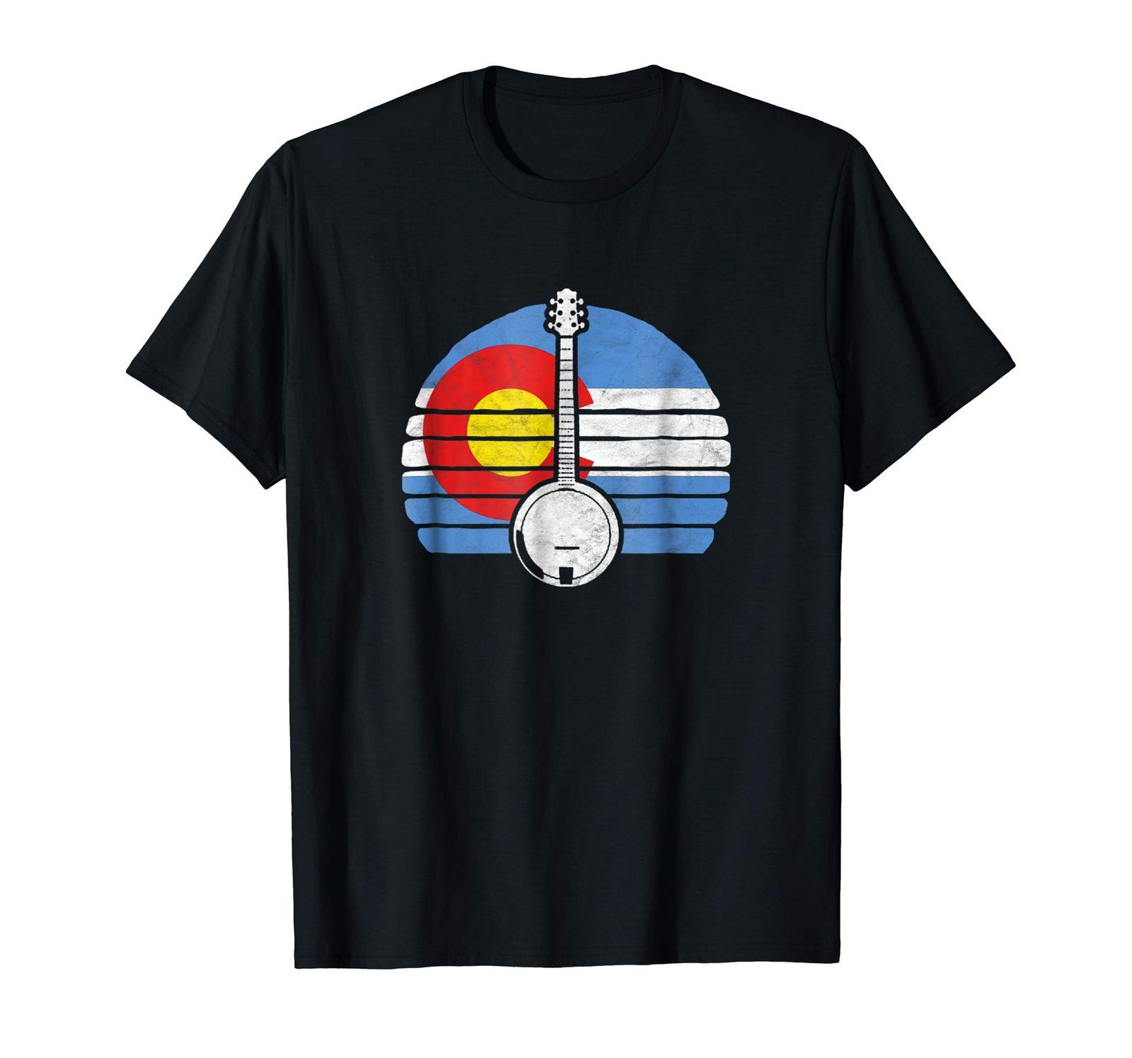 Teacher Style - Colorado Flag Banjo Design - Retro Bluegrass Fan T-Shirt Men