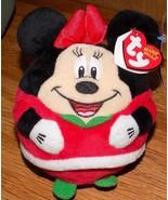 "TY BEANIE BALLZ 5"" PLUSH MINNIE MOUSE BALL (CHRISTMAS) ~NEW~ - $14.00"