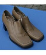 Classique Beis Zapatos de Cuero 11B Botines Tacones Punta Cuadrada Grueso - $23.28