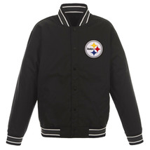 NFL Pittsburgh Steelers Poly Twill Jacket Black  With One Patch Logo  JH Design - $99.99