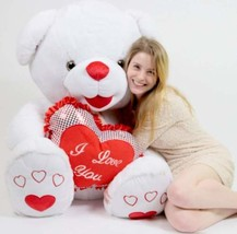 Romantic Giant Teddy Bear 40 inch Soft White with Big Plush I LOVE YOU H... - $153.13