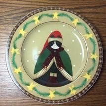 """8 1/4"""" SAKURA Cozy Cats Fiddlestix Salad Dessert Plate Winter Cat Green Sweater - $9.49"""
