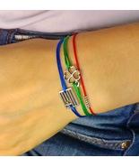 Sterling Silver Flag of Greece Bracelet, Greek flag blue cord bracelet - $29.00