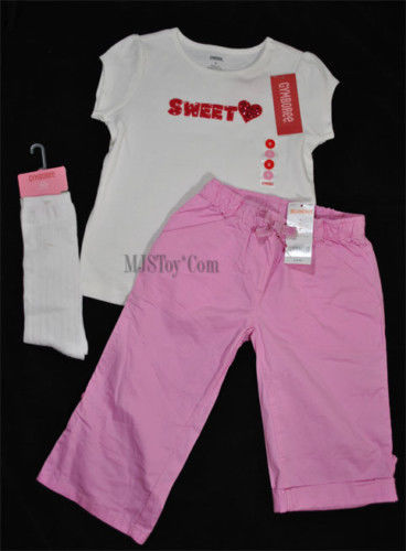 Primary image for NWT GYMBOREE SWEET Heart Sequence Tee T-Shirt/Pants/Socks Outfit Size 6T Lot