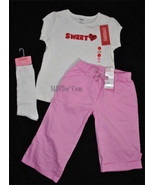 NWT GYMBOREE SWEET Heart Sequence Tee T-Shirt/Pants/Socks Outfit Size 6T... - $39.99