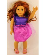 AMERICAN GIRL LONG RED HAIR, GREEN EYES PINK/PURPLE DRESS - $74.44
