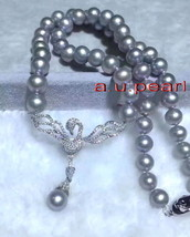 """Lucky bird AAAAA 18""""9-10MM real south sea silver gray pearl necklace pen... - $158.95"""