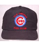 Old Chicago Cubs Fan Club Baseball Hat-Black-Team MLB Sports-Leather Str... - $32.71