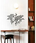 Black Metal Wall Decor Mural Home Wall Art Hanging World Map Globe - $158.02