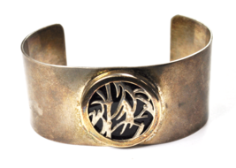 Sterling & 14k 2-Tone M & J Savitt Black Onyx Cutout Cuff Bracelet 29mm ... - $148.49