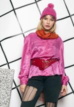 80s vintage pink chevron blouse - $28.33
