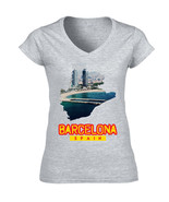 BARCELONA SPAIN - NEW COTTON GREY LADY TSHIRT - $20.97