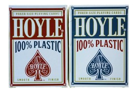 2 Decks Hoyle 100% Plastic Standard Poker Playing Cards Red & Blue New D... - $12.19