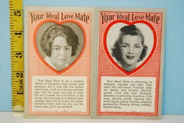 Two 1941 Your Ideal Love Mate Exhibit Supply Cards Arcade Vending - $2.96
