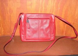 Tignanello Red Pebbled Leather Triple Compartment Crossbody Bag - $45.00