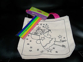 Crafter's Square Flying Princess Color It Yourself Tote Carry Bag w/Mark... - $14.04