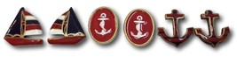 Nautical Earrings 3 Pairs Anchor Sail Boat Wood Brass Enamel Red Blue Gold  - $18.80