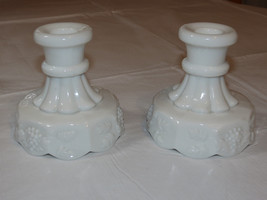 Milk Glass Set of 2 Candle Holders Grape Pattern Westmoreland Vintage RA... - $27.22
